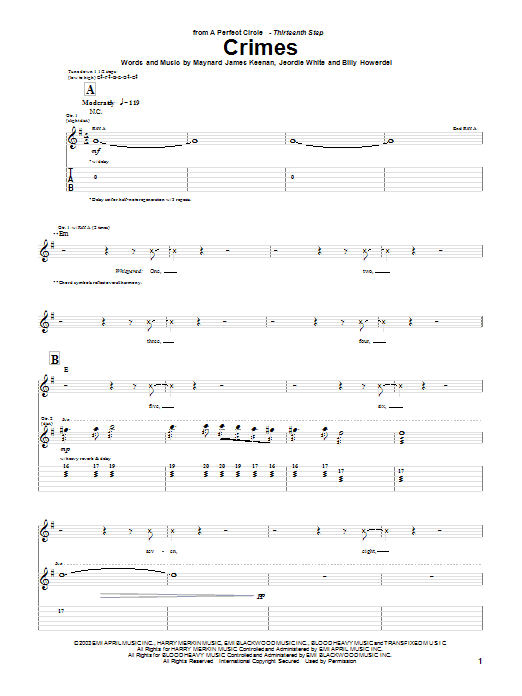 A Perfect Circle Crimes sheet music preview music notes and score for Guitar Tab including 3 page(s)