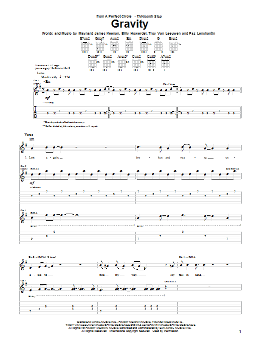 A Perfect Circle Gravity sheet music preview music notes and score for Guitar Tab including 9 page(s)