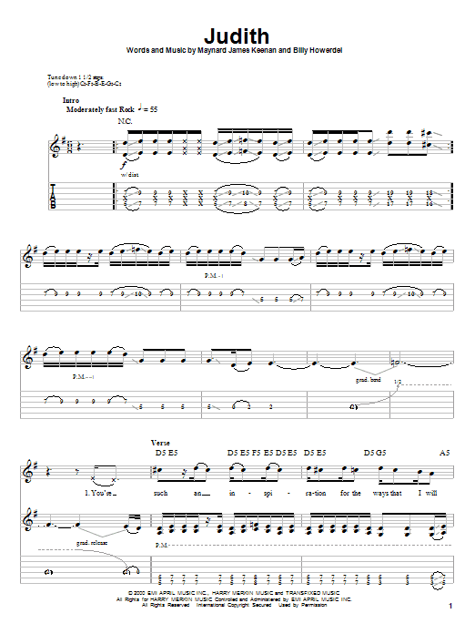 Download A Perfect Circle 'Judith' Digital Sheet Music Notes & Chords and start playing in minutes