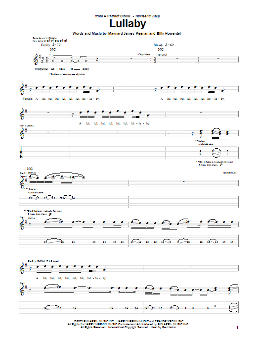 A Perfect Circle Lullaby sheet music notes and chords