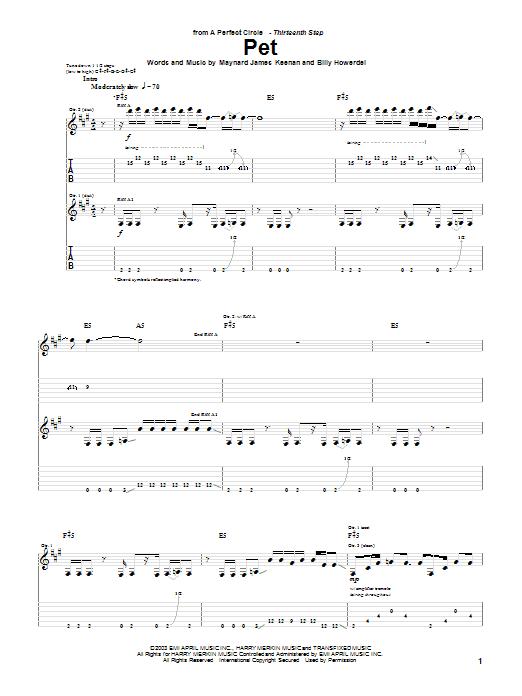 A Perfect Circle Pet sheet music notes and chords