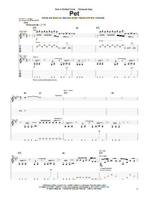 A Perfect Circle Pet sheet music preview music notes and score for Guitar Tab including 10 page(s)