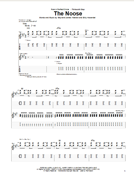 A Perfect Circle The Noose sheet music preview music notes and score for Guitar Tab including 8 page(s)