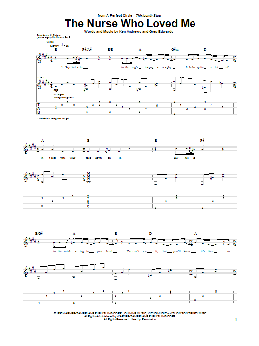 A Perfect Circle The Nurse Who Loved Me sheet music preview music notes and score for Guitar Tab including 5 page(s)