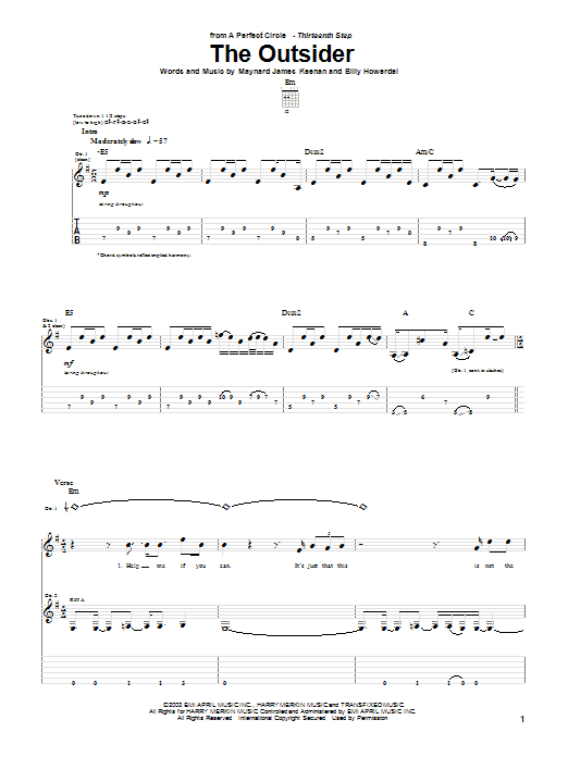A Perfect Circle The Outsider sheet music preview music notes and score for Bass Guitar Tab including 8 page(s)