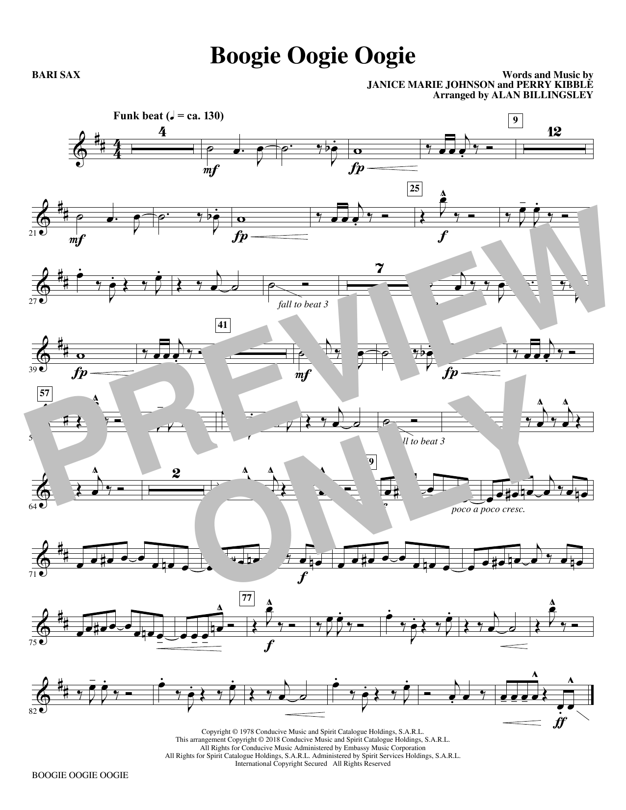 Download A Taste Of Honey 'Boogie Oogie Oogie (arr. Alan Billingsley) - Baritone Sax' Digital Sheet Music Notes & Chords and start playing in minutes