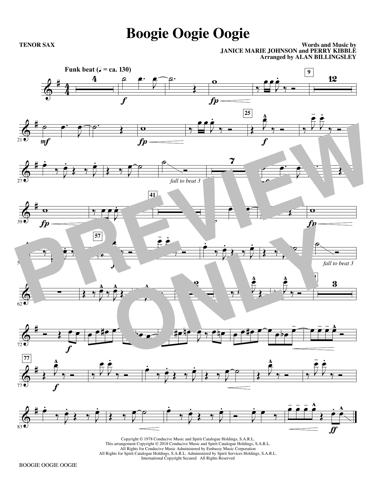 Download A Taste Of Honey 'Boogie Oogie Oogie (arr. Alan Billingsley) - Bb Tenor Saxophone' Digital Sheet Music Notes & Chords and start playing in minutes