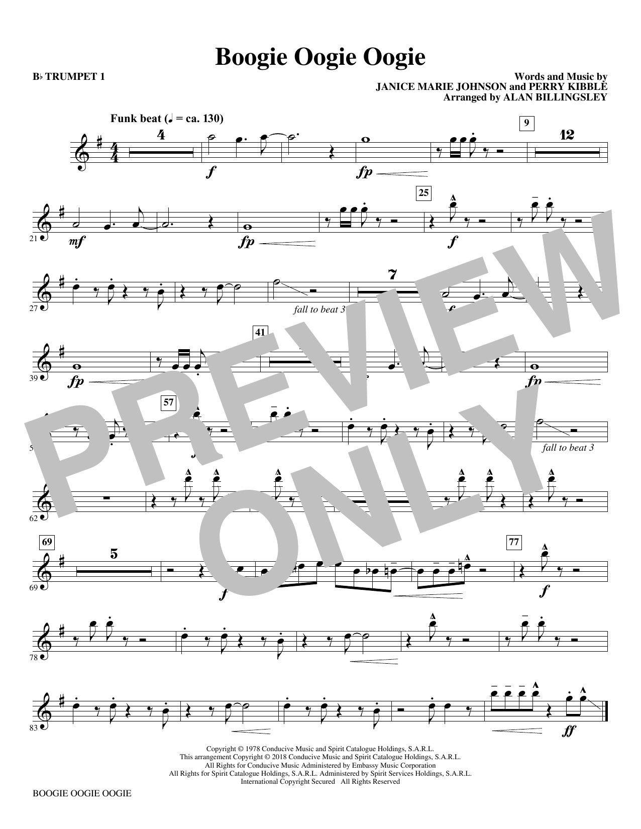 Download A Taste Of Honey 'Boogie Oogie Oogie (arr. Alan Billingsley) - Bb Trumpet 1' Digital Sheet Music Notes & Chords and start playing in minutes