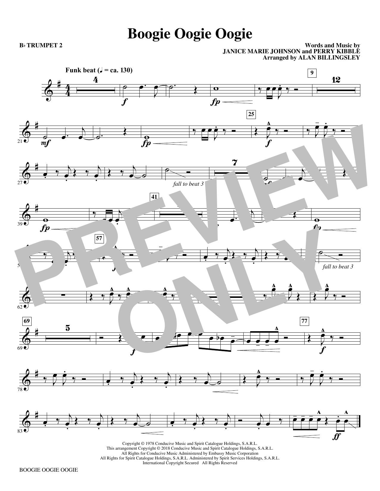 Download A Taste Of Honey 'Boogie Oogie Oogie (arr. Alan Billingsley) - Bb Trumpet 2' Digital Sheet Music Notes & Chords and start playing in minutes