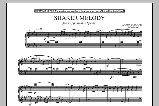 Download Aaron Copland 'Appalachian Spring (Shaker Melody)' Digital Sheet Music Notes & Chords and start playing in minutes