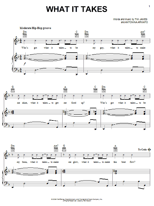 Aaron Doyle What It Takes sheet music preview music notes and score for Piano, Vocal & Guitar (Right-Hand Melody) including 4 page(s)