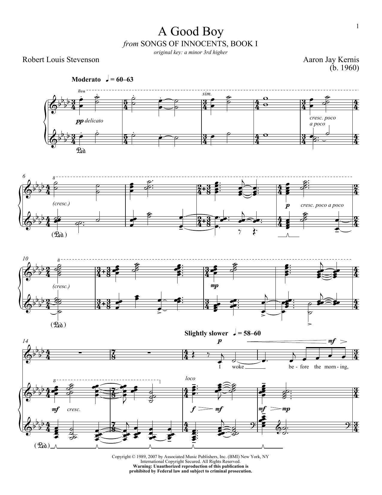 Download Aaron Jay Kernis 'A Good Boy' Digital Sheet Music Notes & Chords and start playing in minutes