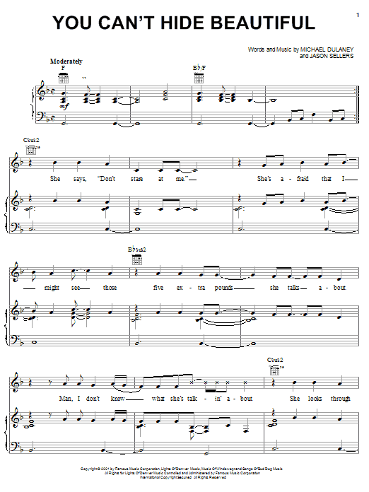 Aaron Lines You Can't Hide Beautiful sheet music preview music notes and score for Piano, Vocal & Guitar (Right-Hand Melody) including 8 page(s)