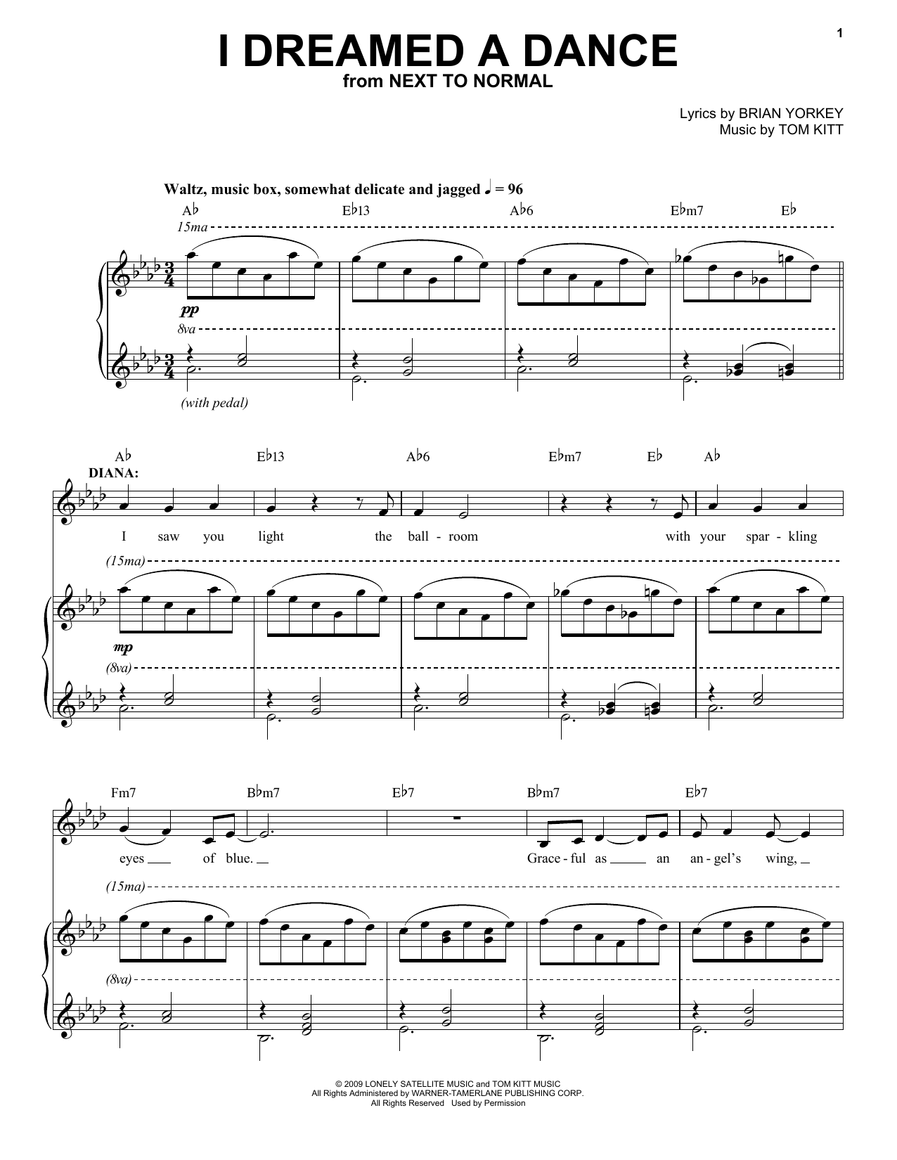Download Aaron Tveit 'I Dreamed A Dance (from Next to Normal)' Digital Sheet Music Notes & Chords and start playing in minutes