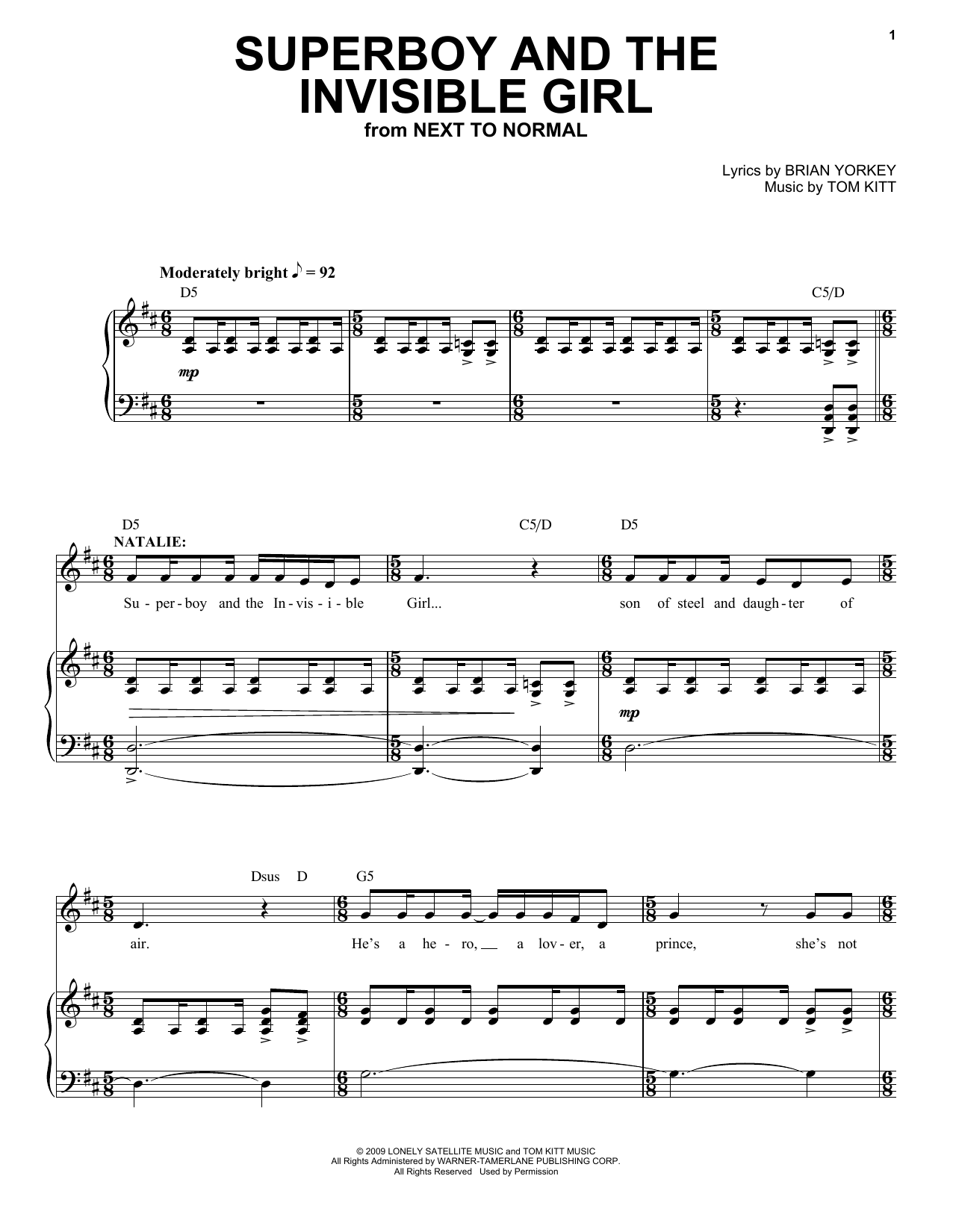 Download Aaron Tveit 'Superboy And The Invisible Girl (from Next to Normal)' Digital Sheet Music Notes & Chords and start playing in minutes