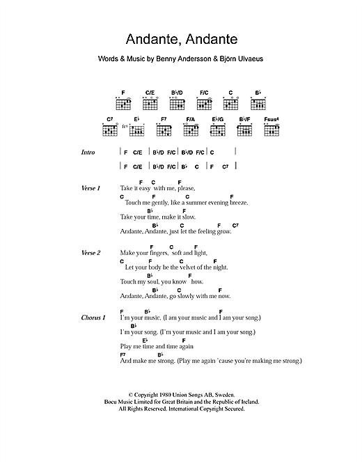 Download ABBA 'Andante, Andante' Digital Sheet Music Notes & Chords and start playing in minutes