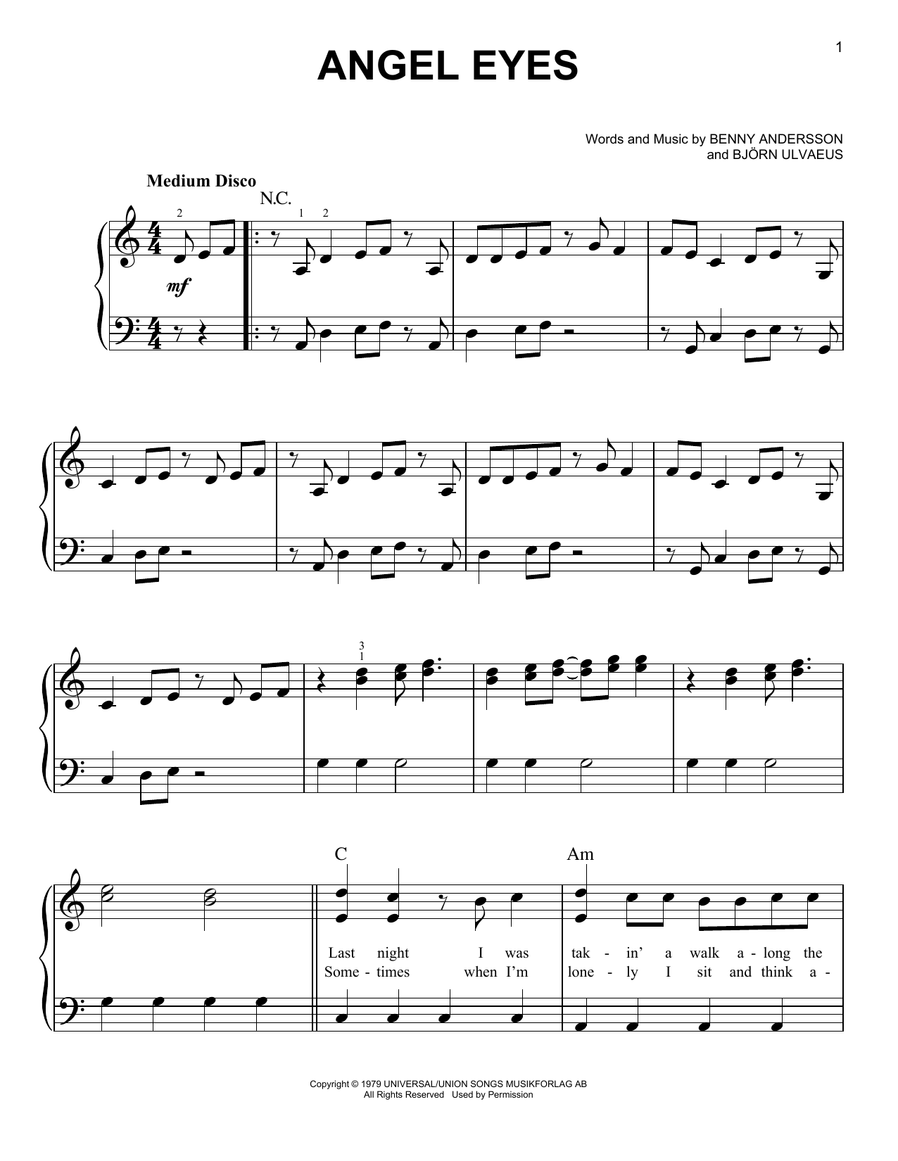 ABBA Angel Eyes (from Mamma Mia! Here We Go Again) sheet music notes and chords