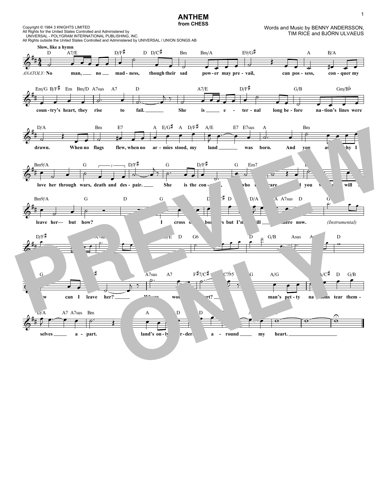 Download ABBA 'Anthem' Digital Sheet Music Notes & Chords and start playing in minutes