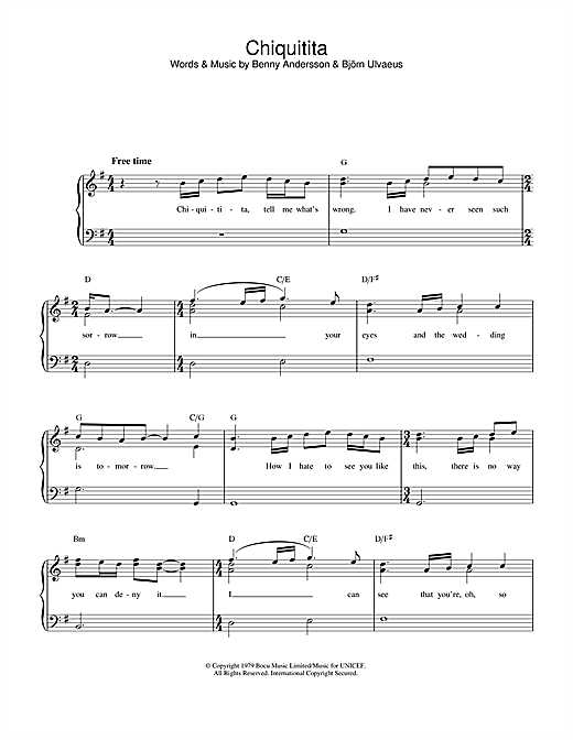 ABBA Chiquitita sheet music preview music notes and score for Piano, Vocal & Guitar (Right-Hand Melody) including 4 page(s)