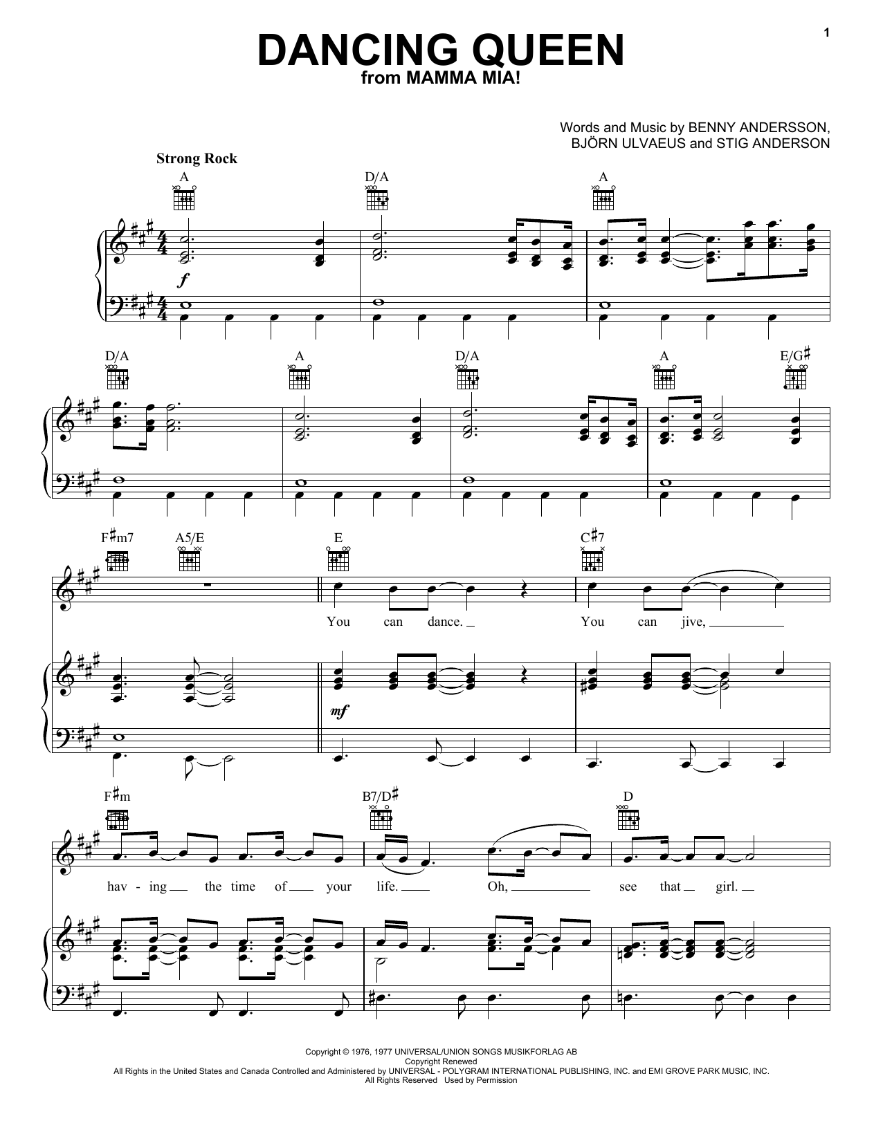 ABBA Dancing Queen sheet music preview music notes and score for Piano (Big Notes) including 9 page(s)