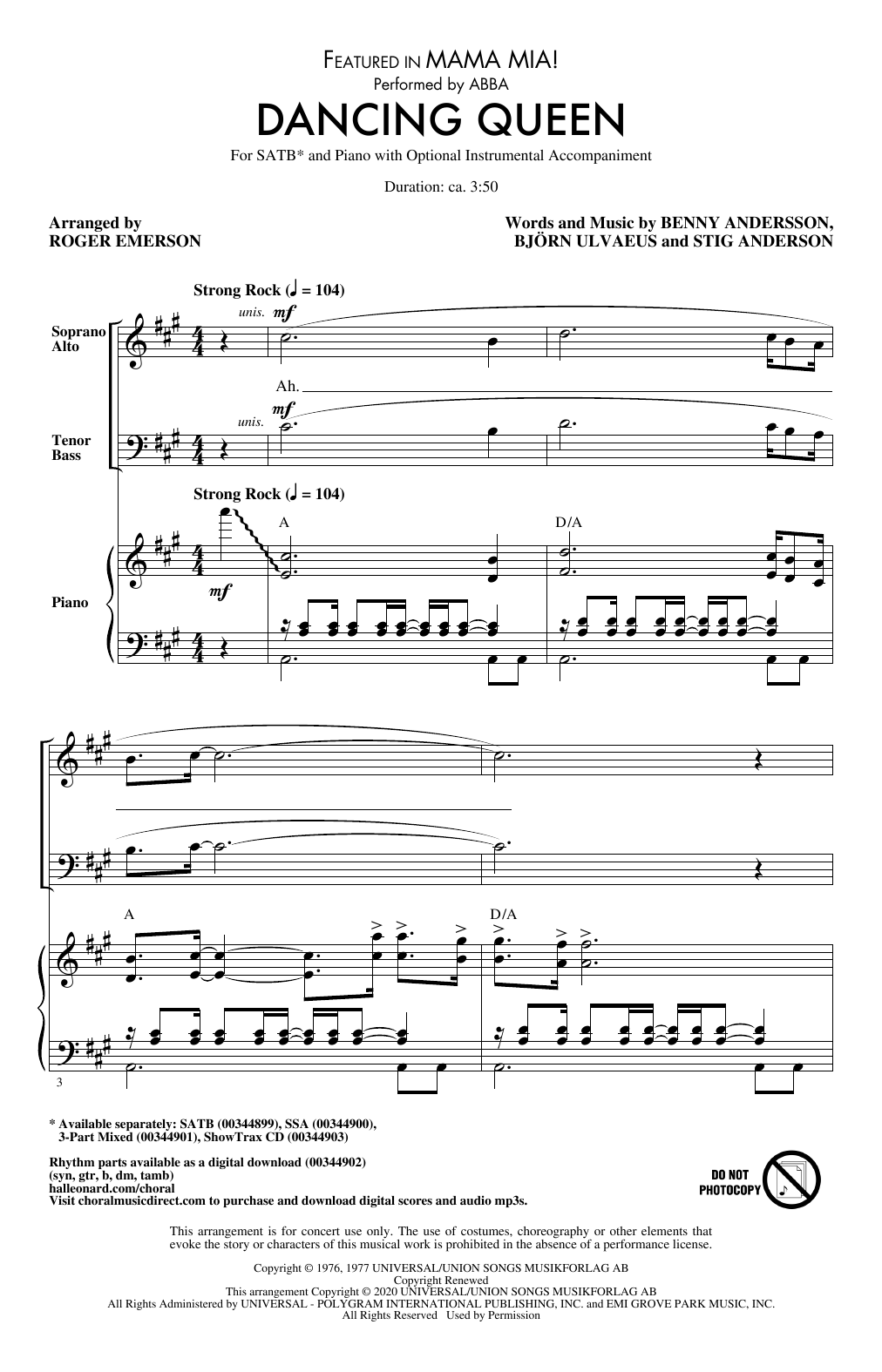 Download ABBA 'Dancing Queen (from Mamma Mia!) (arr. Roger Emerson)' Digital Sheet Music Notes & Chords and start playing in minutes