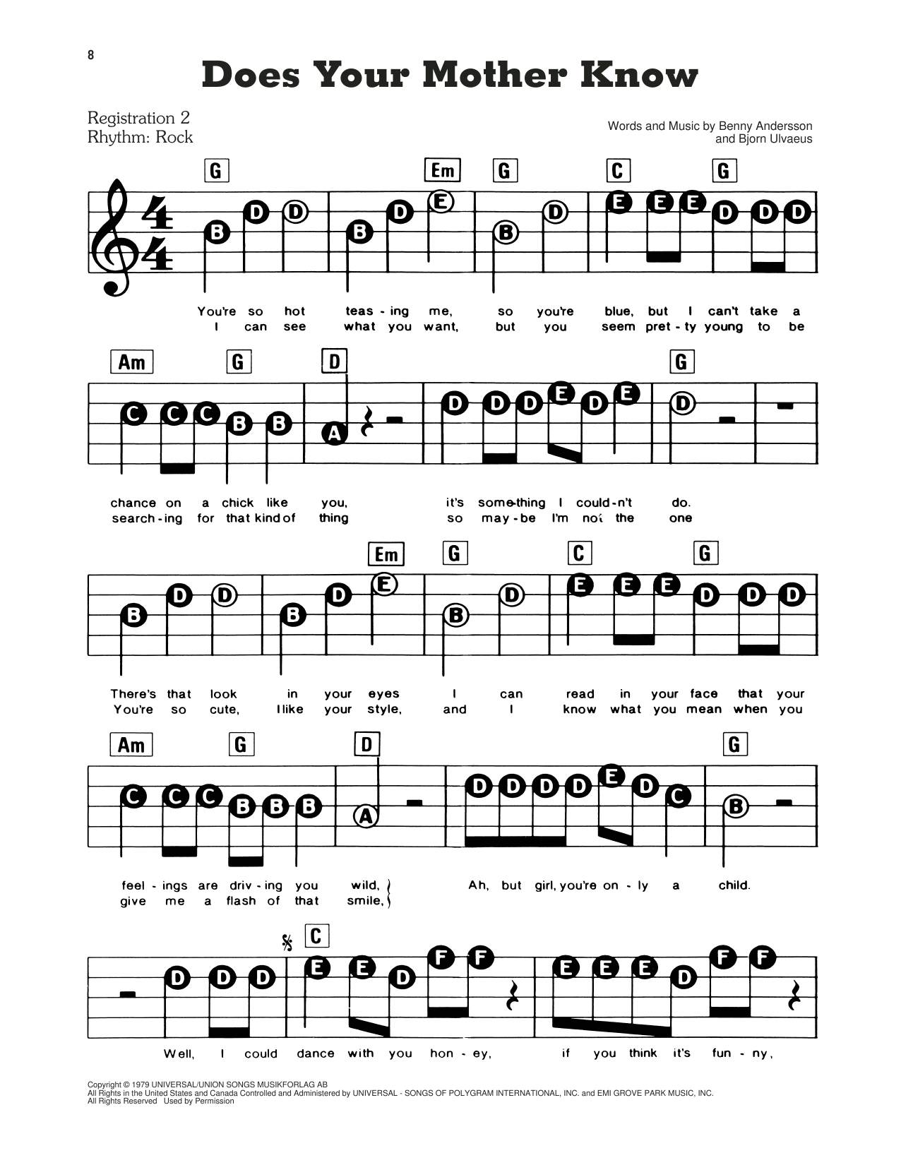 ABBA Does Your Mother Know (from Mamma Mia!) sheet music preview music notes and score for E-Z Play Today including 2 page(s)