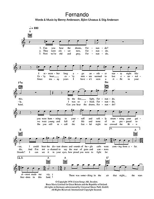 ABBA Fernando sheet music notes and chords
