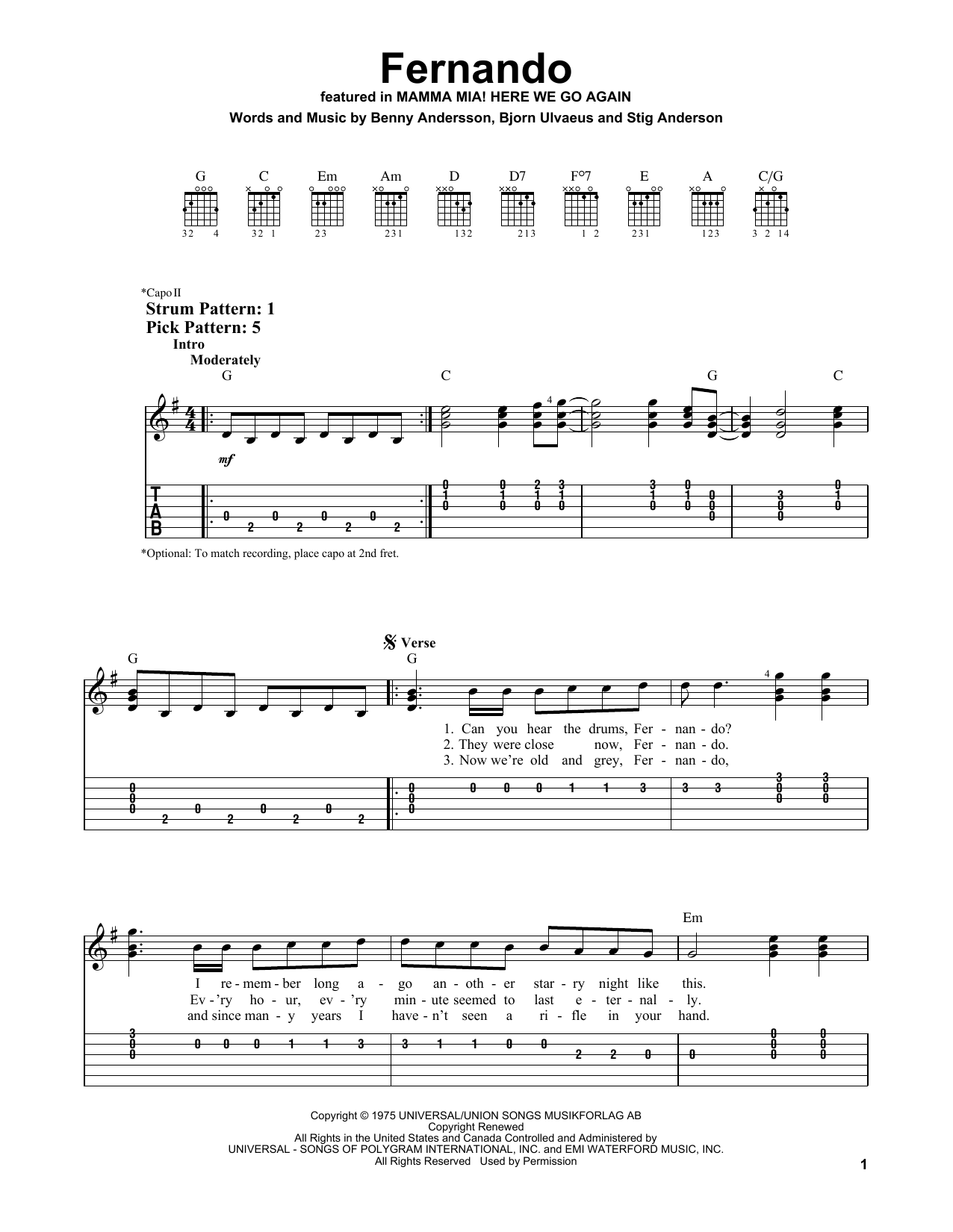Download ABBA 'Fernando (from Mamma Mia! Here We Go Again)' Digital Sheet Music Notes & Chords and start playing in minutes