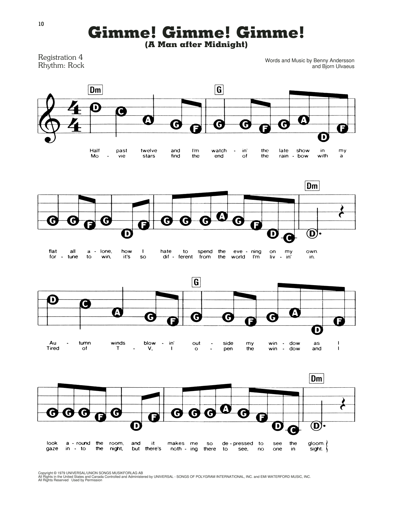 Download ABBA 'Gimme! Gimme! Gimme! (A Man After Midnight) (from Mamma Mia!)' Digital Sheet Music Notes & Chords and start playing in minutes