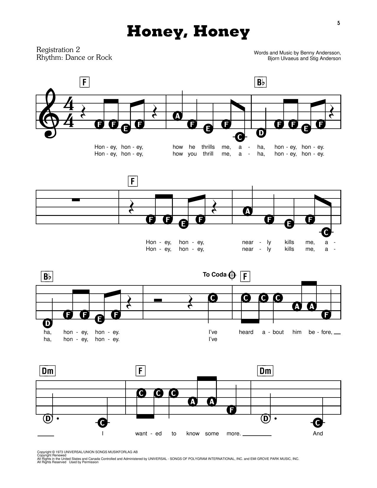 Download ABBA 'Honey, Honey (from Mamma Mia!)' Digital Sheet Music Notes & Chords and start playing in minutes