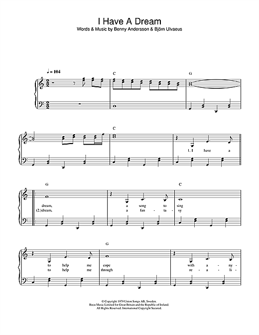 Download ABBA 'I Have A Dream' Digital Sheet Music Notes & Chords and start playing in minutes