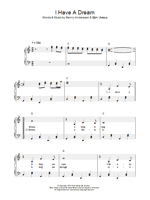 ABBA I Have A Dream sheet music preview music notes and score for Guitar Tab including 5 page(s)
