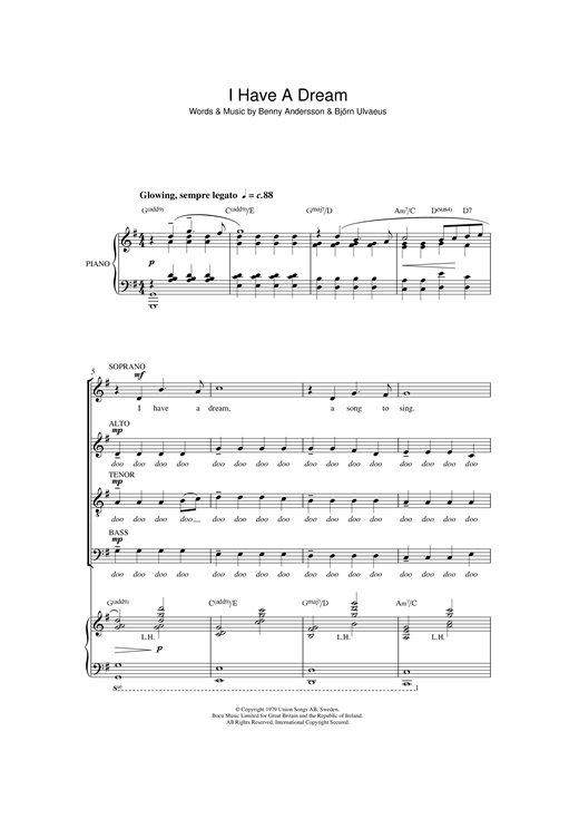 Download ABBA 'I Have A Dream (arr. Quentin Thomas)' Digital Sheet Music Notes & Chords and start playing in minutes