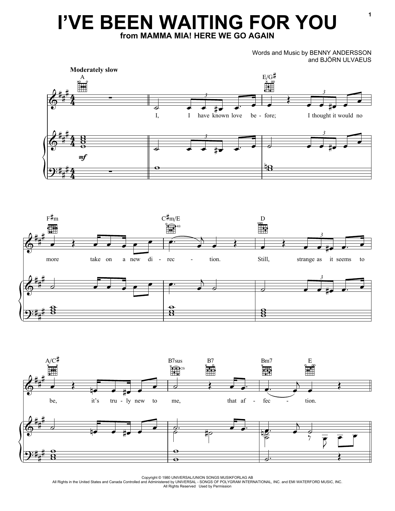 Download ABBA 'I've Been Waiting For You (from Mamma Mia! Here We Go Again)' Digital Sheet Music Notes & Chords and start playing in minutes