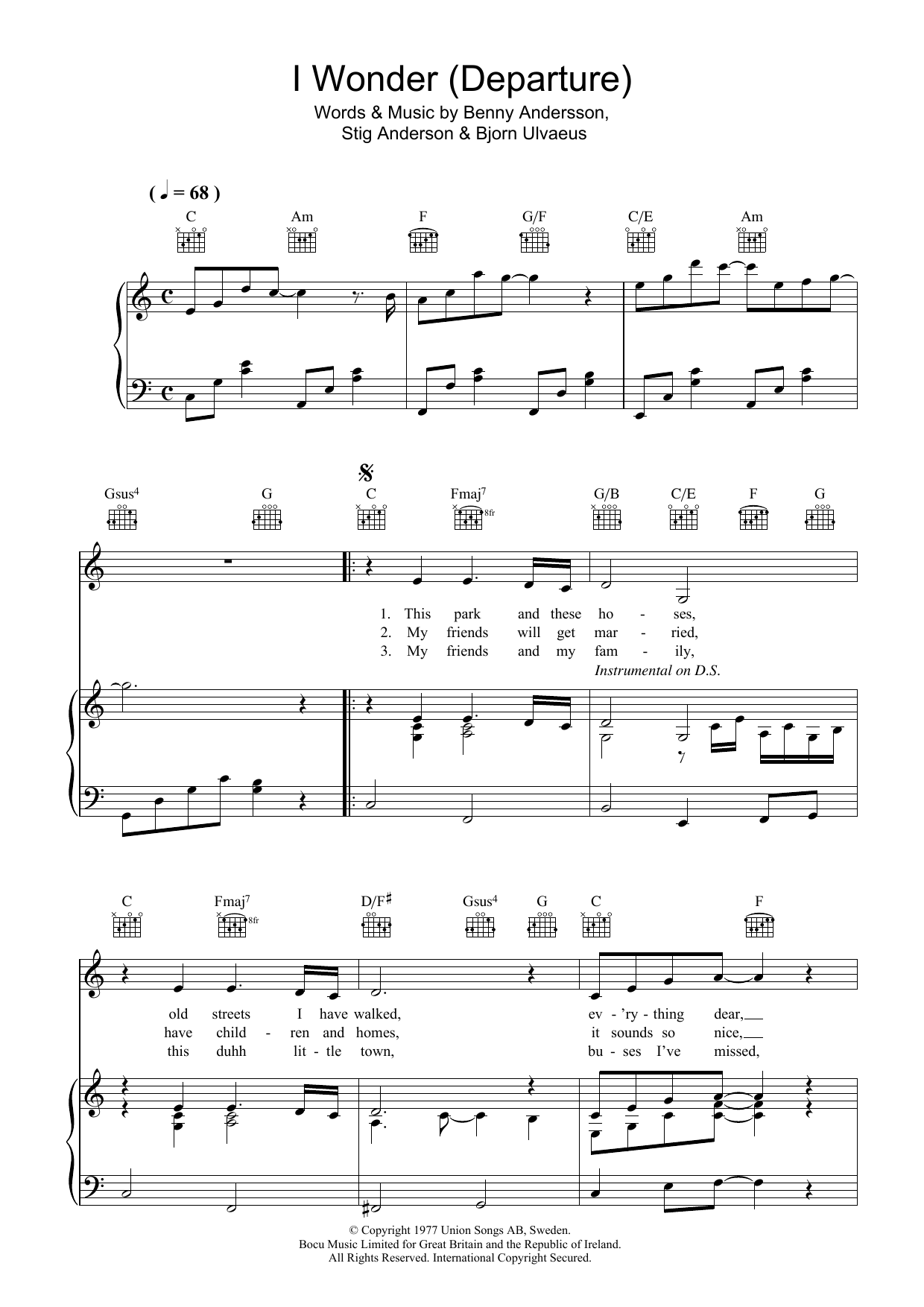 ABBA I Wonder (Departure) sheet music preview music notes and score for Piano, Vocal & Guitar (Right-Hand Melody) including 4 page(s)