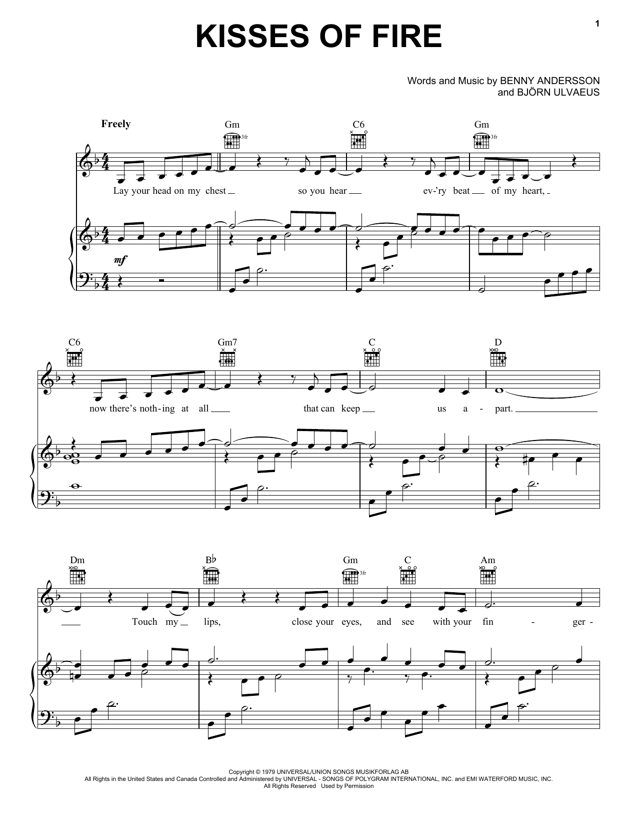 Download ABBA 'Kisses Of Fire (from Mamma Mia! Here We Go Again)' Digital Sheet Music Notes & Chords and start playing in minutes
