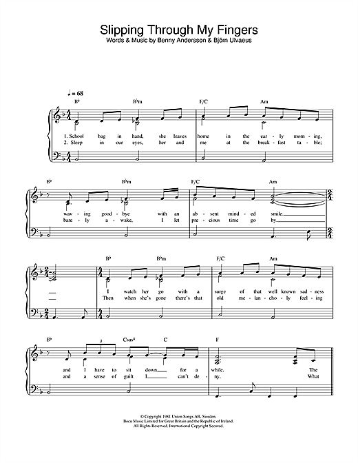 ABBA Slipping Through My Fingers sheet music preview music notes and score for Piano (Big Notes) including 4 page(s)
