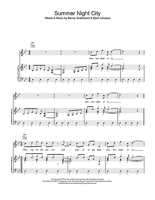 ABBA Summer Night City sheet music notes and chords