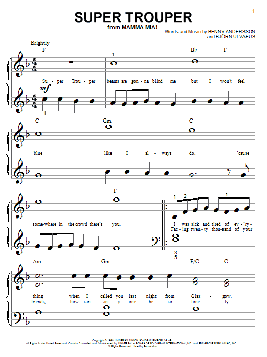 ABBA Super Trouper sheet music preview music notes and score for Piano (Big Notes) including 4 page(s)