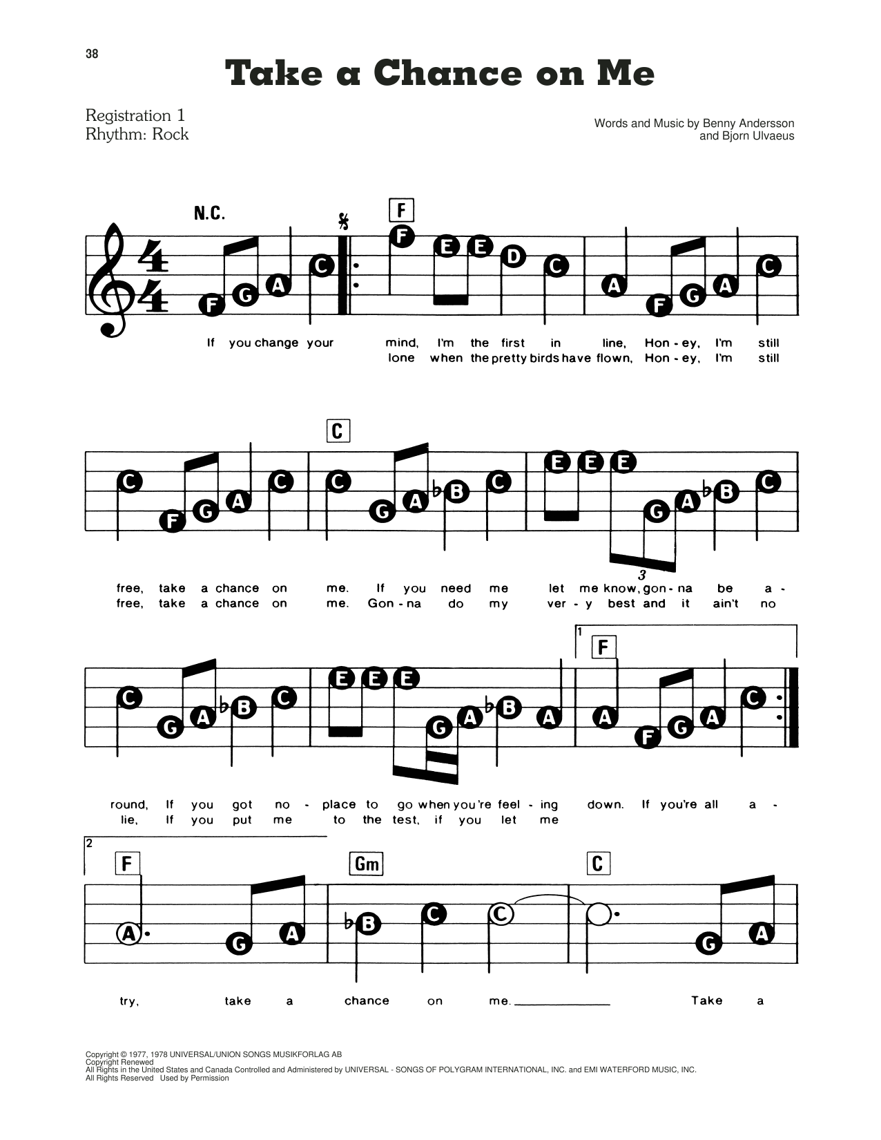 ABBA Take A Chance On Me (from Mamma Mia!) sheet music preview music notes and score for E-Z Play Today including 2 page(s)