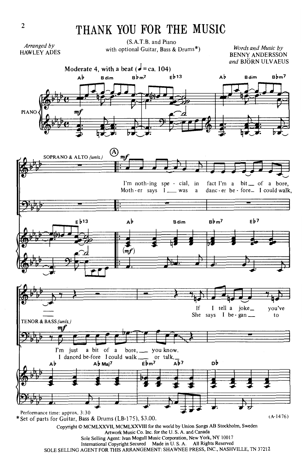 Download ABBA 'Thank You For The Music (arr. Hawley Ades)' Digital Sheet Music Notes & Chords and start playing in minutes