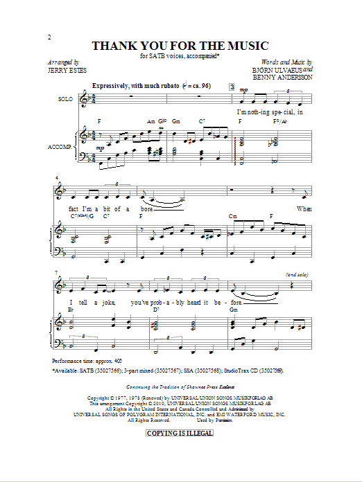 Download Jerry Estes 'Thank You For The Music' Digital Sheet Music Notes & Chords and start playing in minutes
