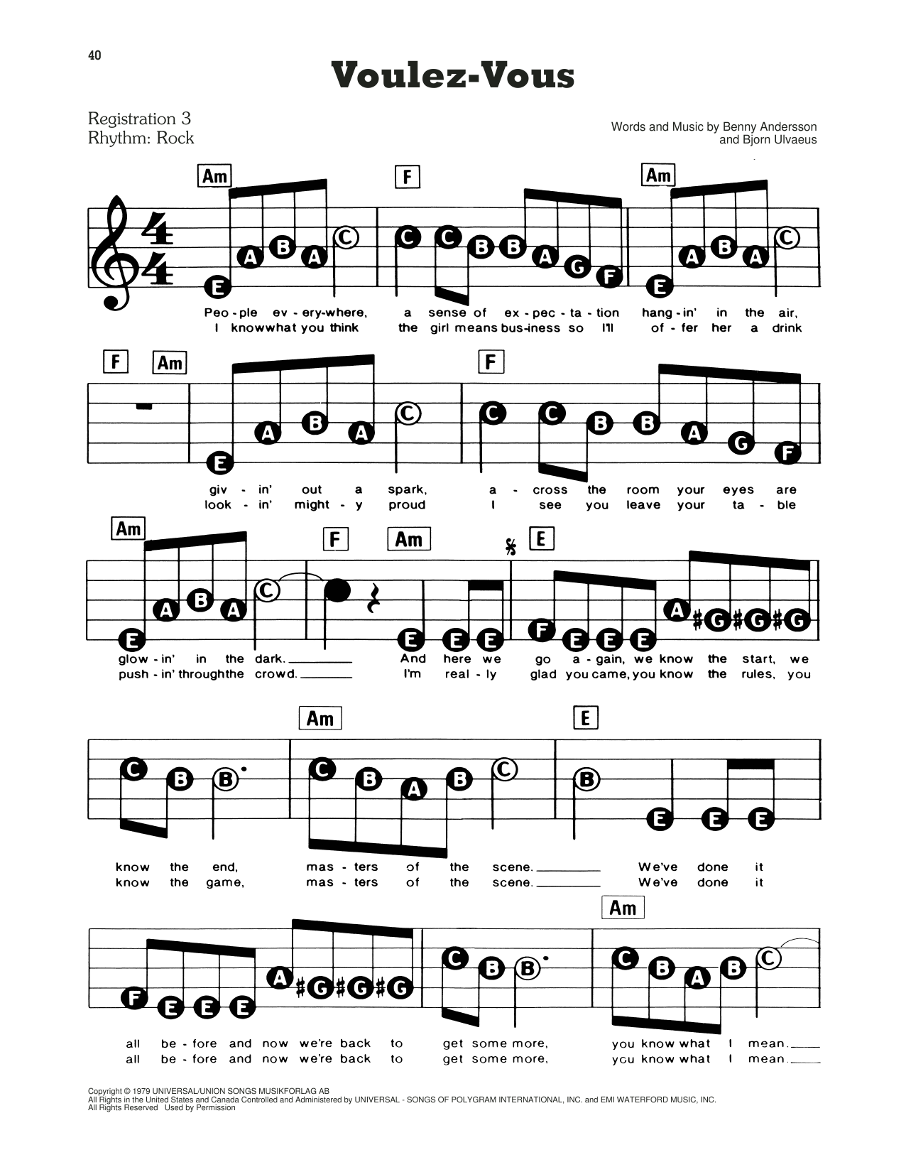 ABBA Voulez-Vous (from Mamma Mia!) sheet music preview music notes and score for E-Z Play Today including 3 page(s)