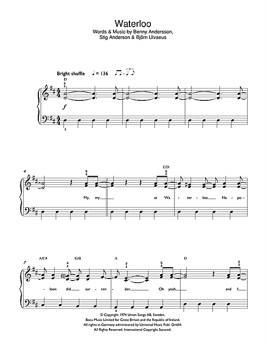 Download ABBA 'Waterloo' Digital Sheet Music Notes & Chords and start playing in minutes