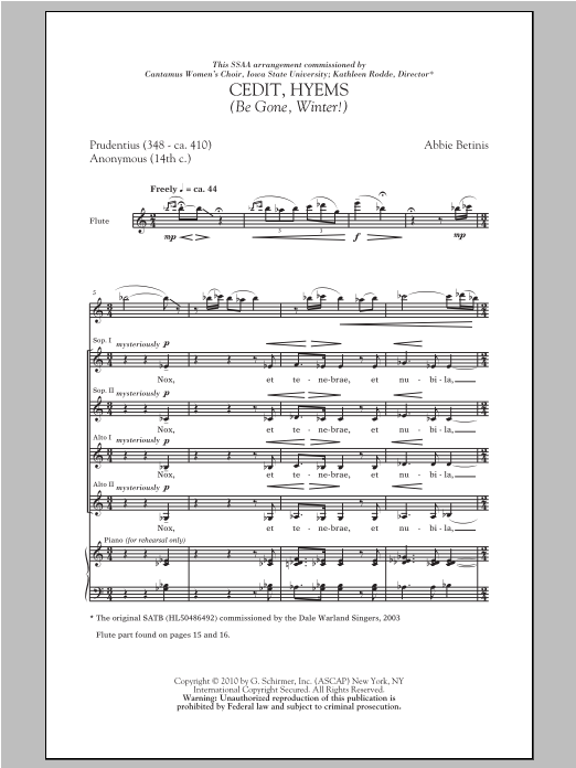 Download Abbie Betinis 'Cedit, Hyems (Be Gone, Winter!)' Digital Sheet Music Notes & Chords and start playing in minutes