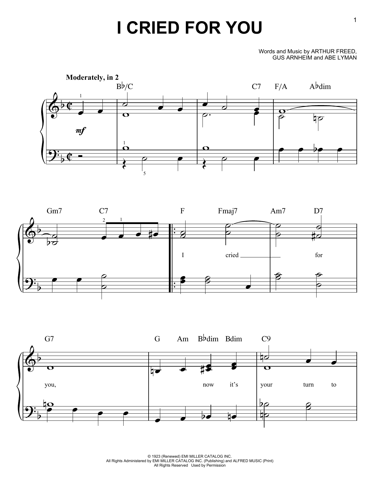 Abe Lyman I Cried For You sheet music preview music notes and score for Real Book - Melody & Chords - C Instruments including 1 page(s)