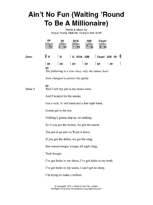 AC/DC Ain't No Fun (Waiting Around To Be A Millionaire) sheet music preview music notes and score for Lyrics & Chords including 4 page(s)