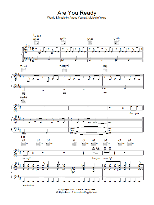 AC/DC Are You Ready sheet music preview music notes and score for Lyrics & Chords including 2 page(s)