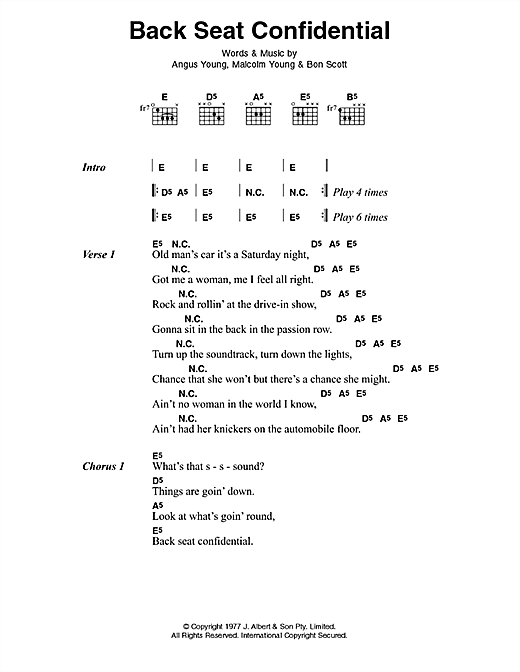 AC/DC Back Seat Confidential sheet music preview music notes and score for Lyrics & Chords including 3 page(s)
