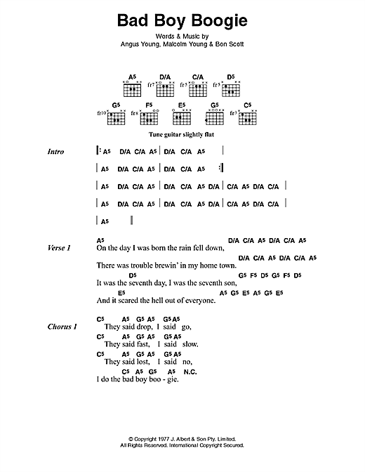 AC/DC Bad Boy Boogie sheet music preview music notes and score for Lyrics & Chords including 3 page(s)